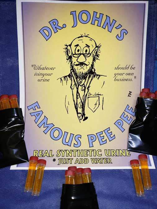 Dr John's fake urine, a synthetic pee used for The Urinator device