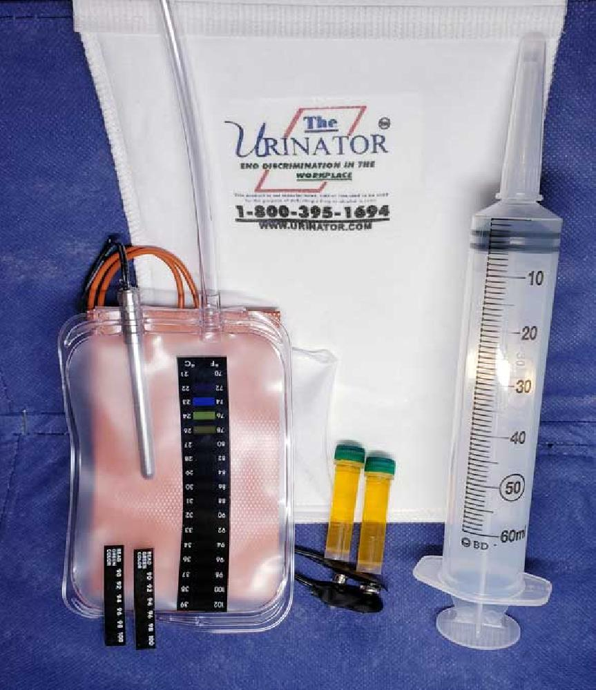 The Urinator Kit as reviewed above, showing items supplied in the kit.